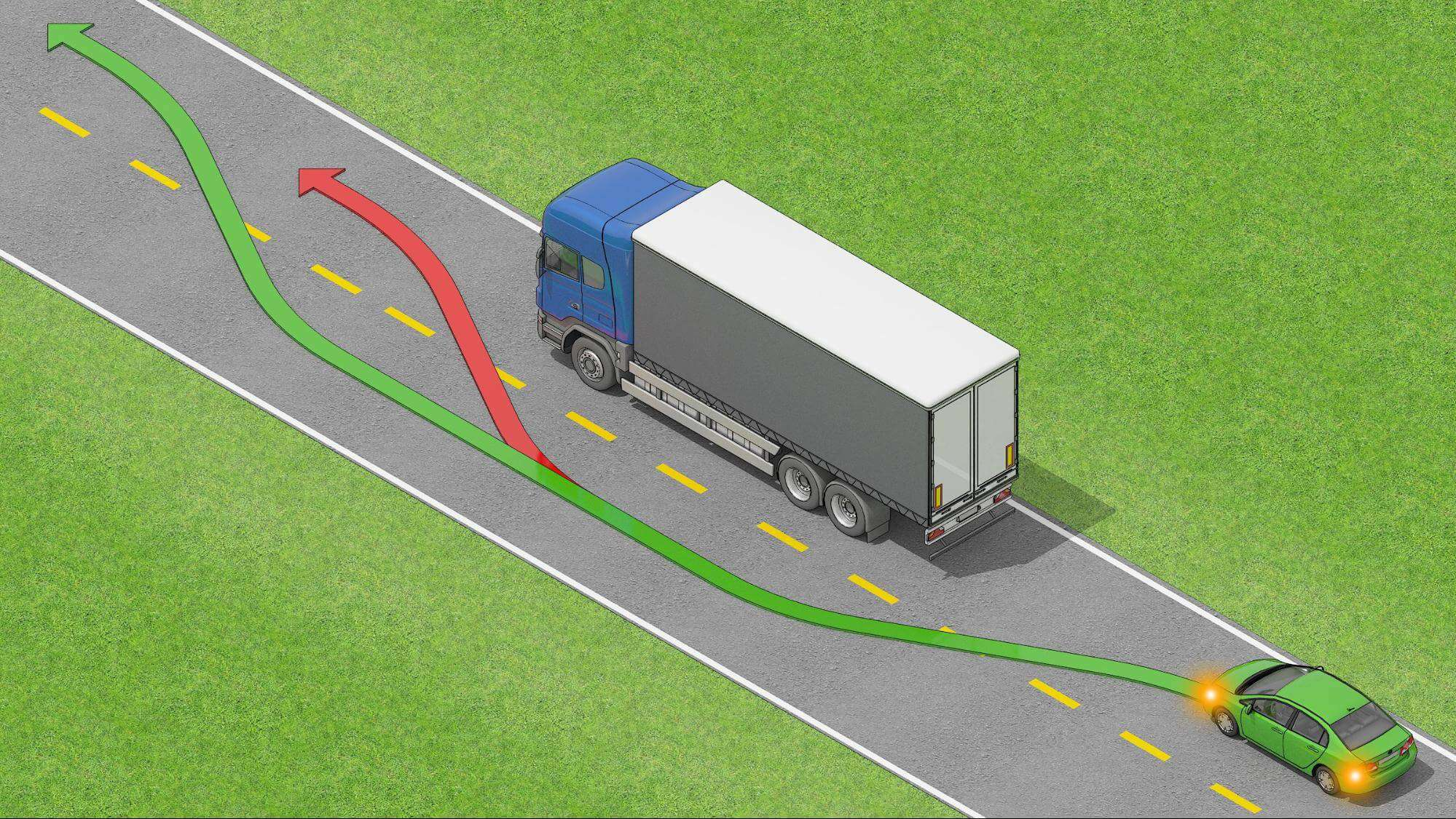 How to safely overtake a truck