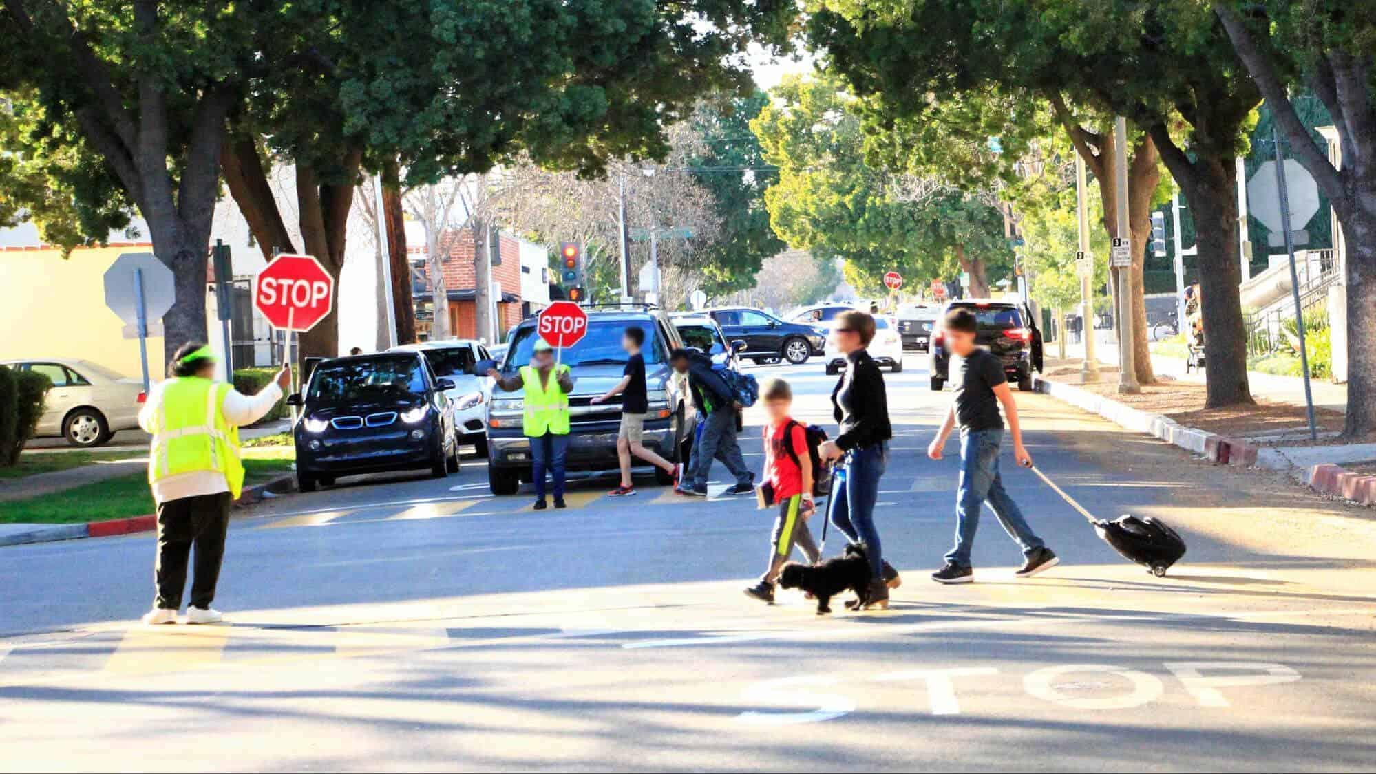 children using school crossing