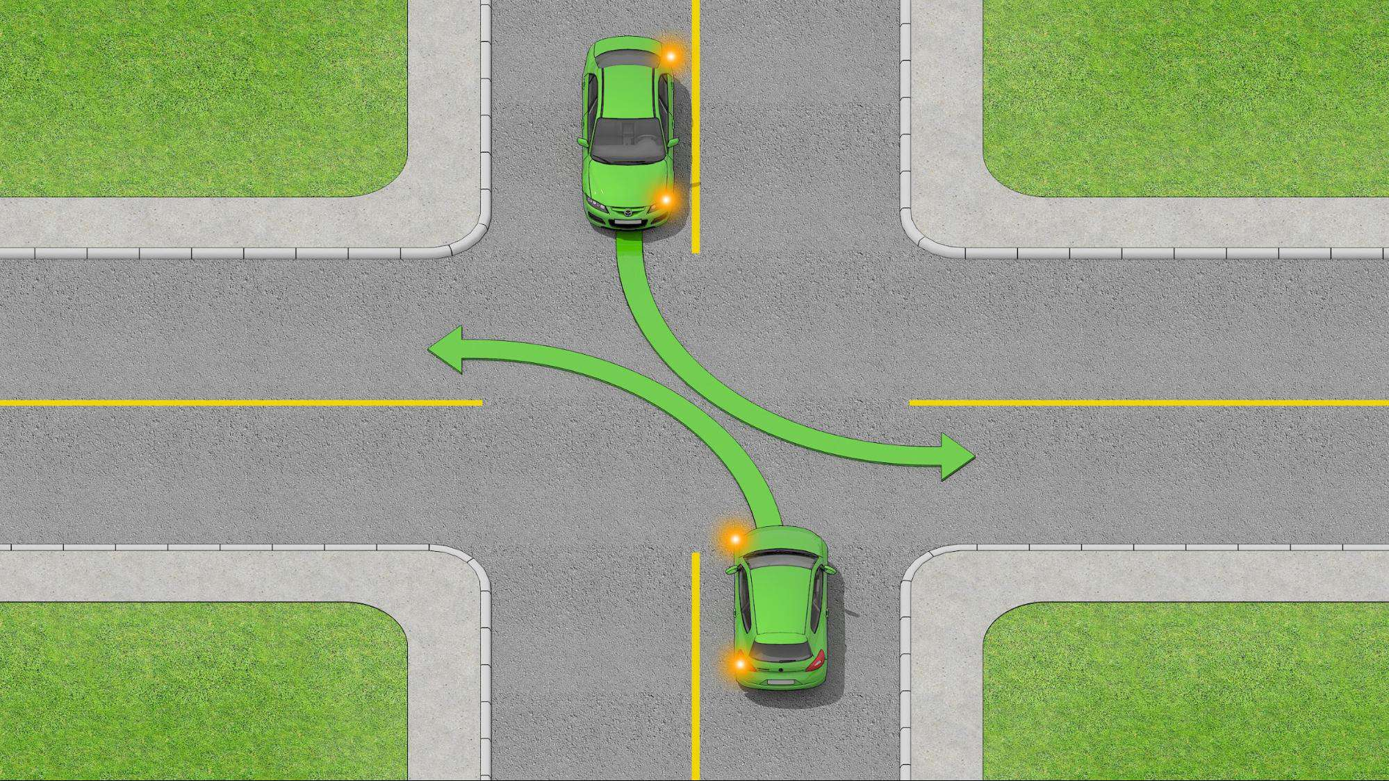 2 oncoming cars at an uncontrolled intersection