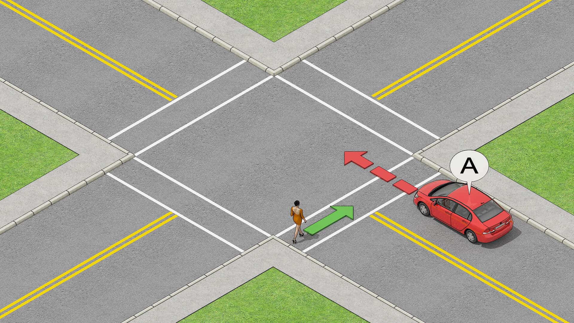 Driver yields to pedestrian at intersection before proceeding.