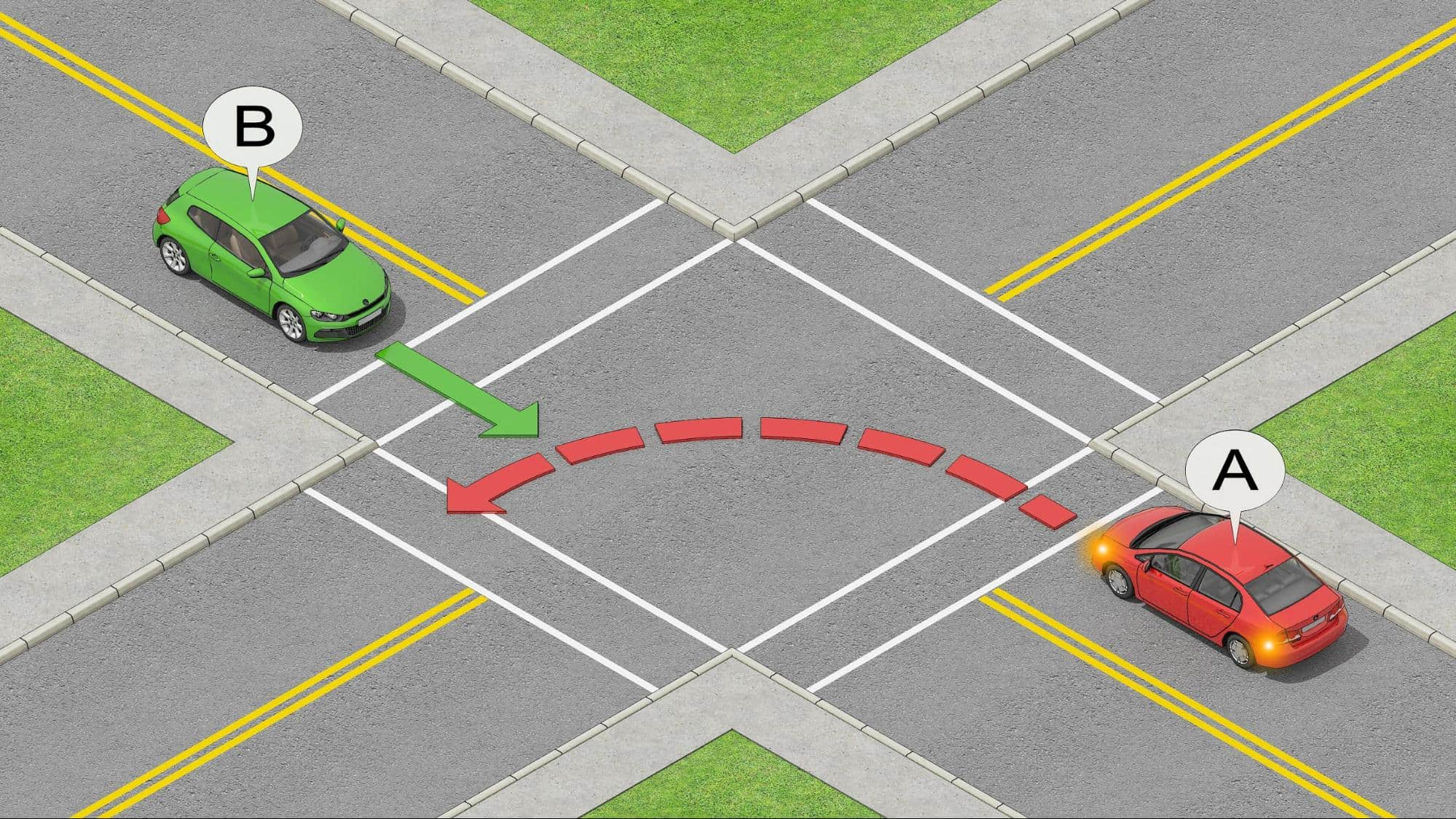 yield when turning left