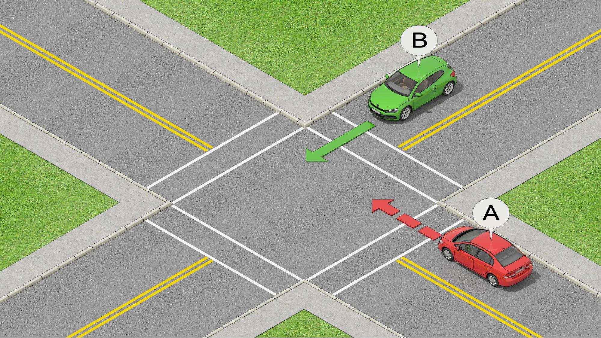 cars on the right have priority