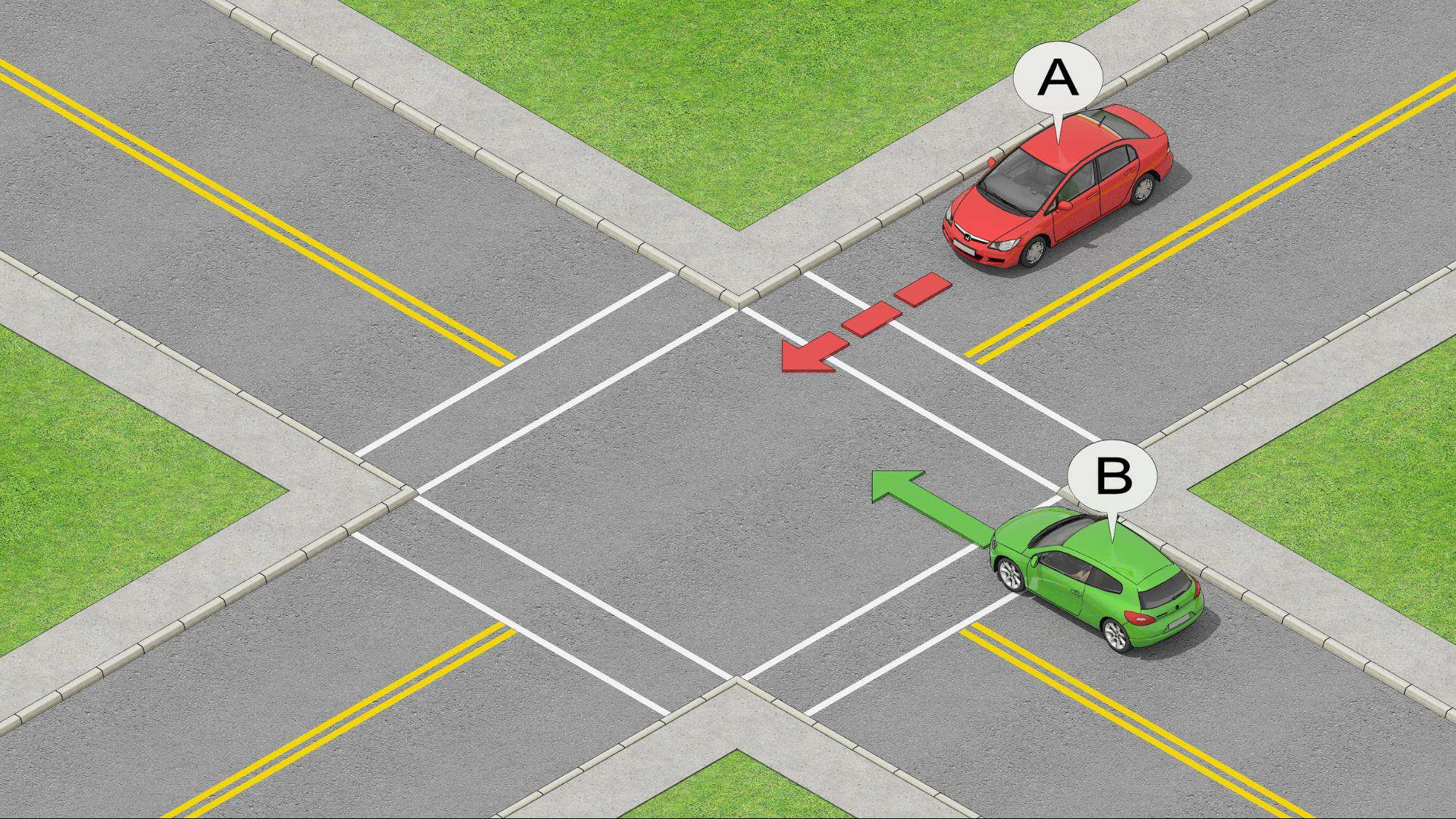 car B arrived first at the uncontrolled intersection and has priority