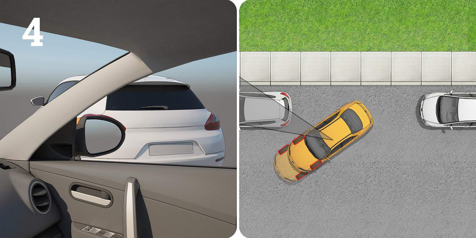 Parallel parking step 4: showing how to know when to turn your wheels straight