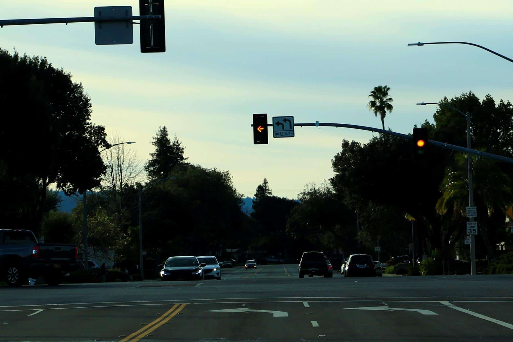 intersection with yellow lights
