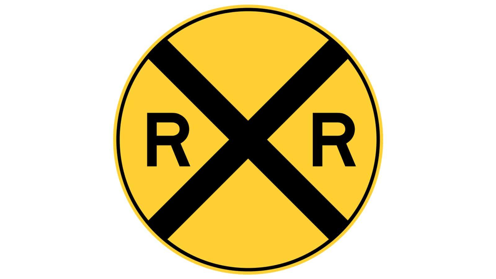 warning sign Railroad Crossing Ahead