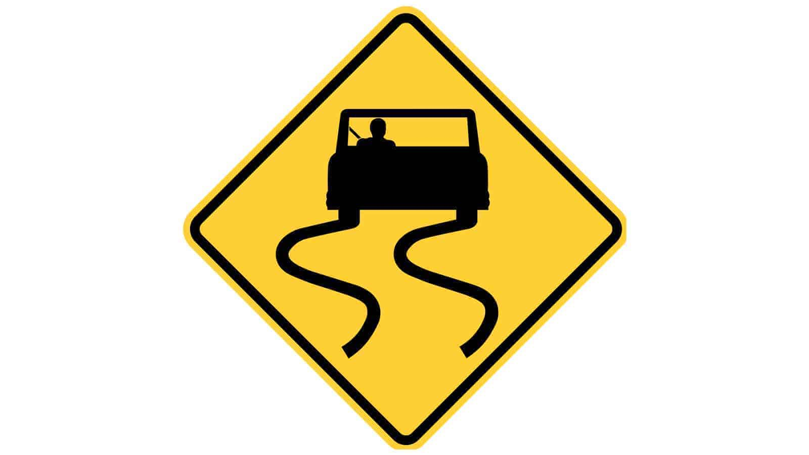 Warning sign Road Slippery When Wet