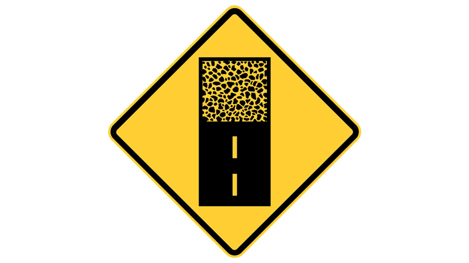 Warning sign Pavement Ends Ahead