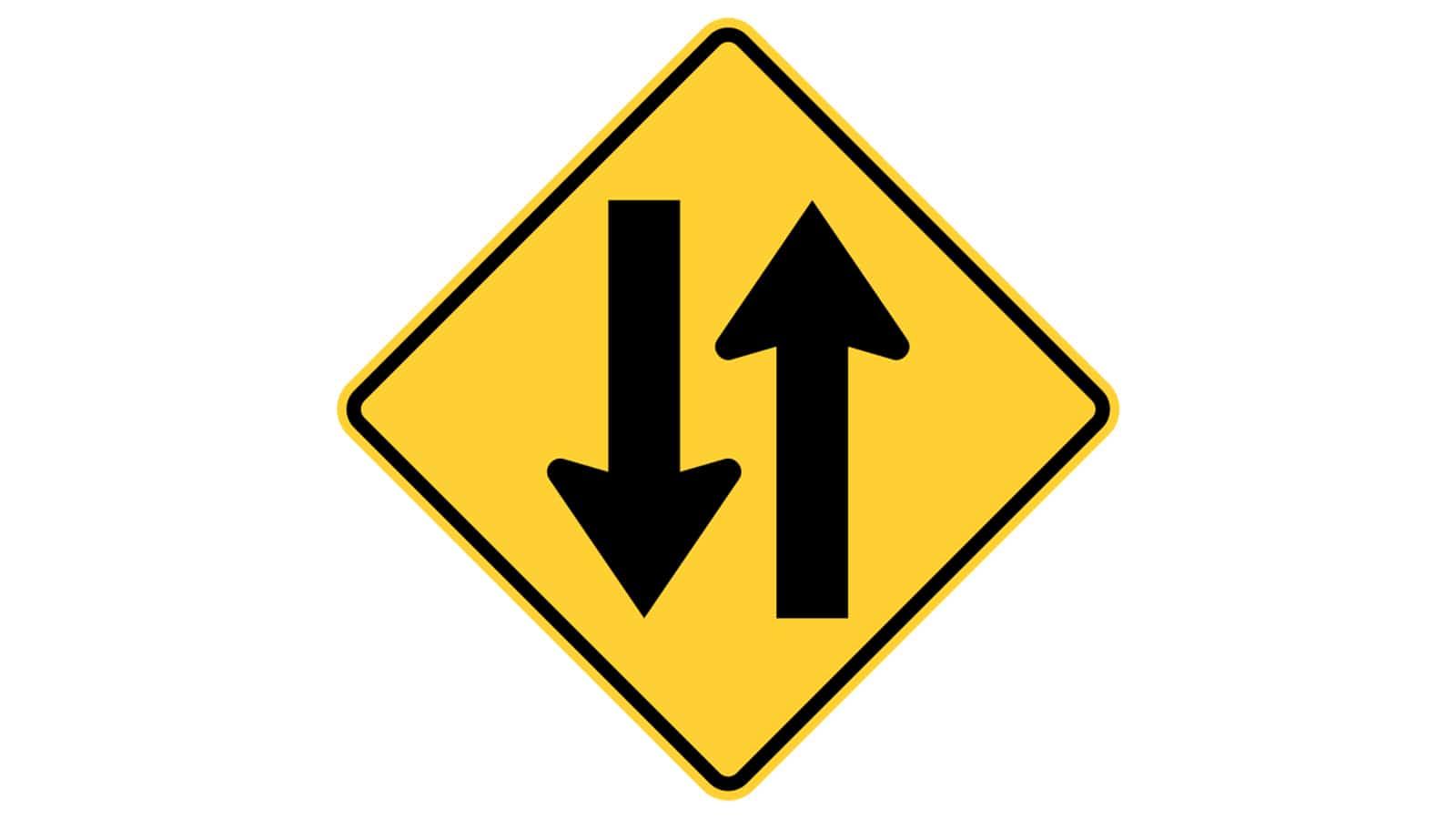 Warning sign Two-Way Traffic