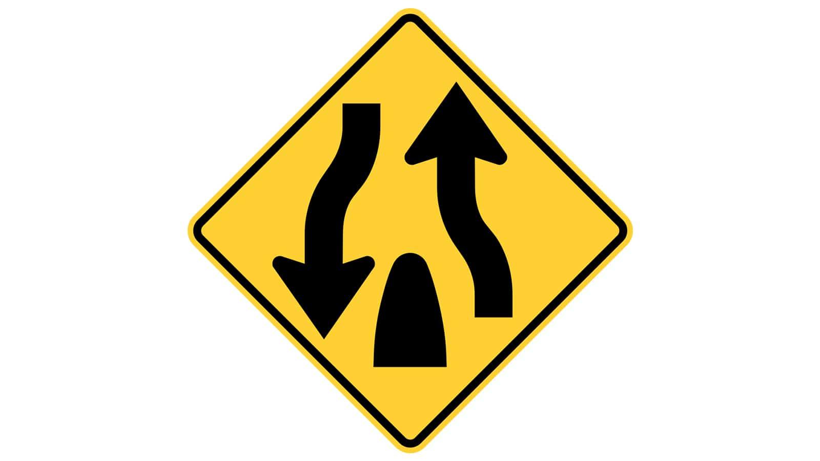 Warning sign Divided Highway Ends
