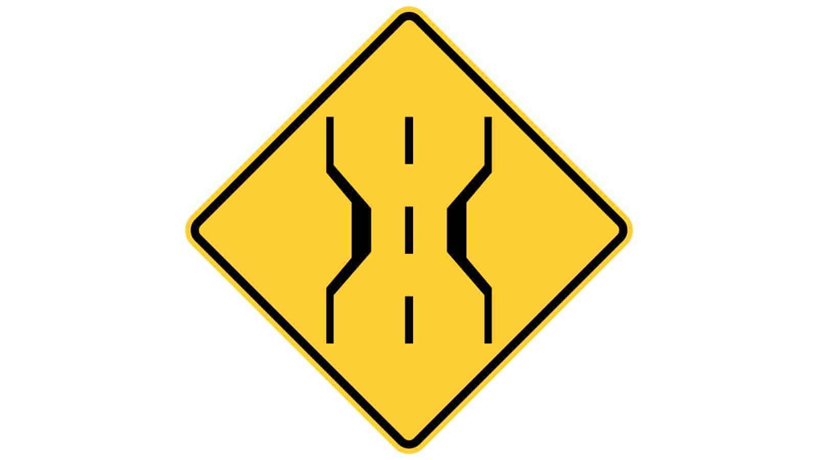 Warning sign narrow bridge ahead
