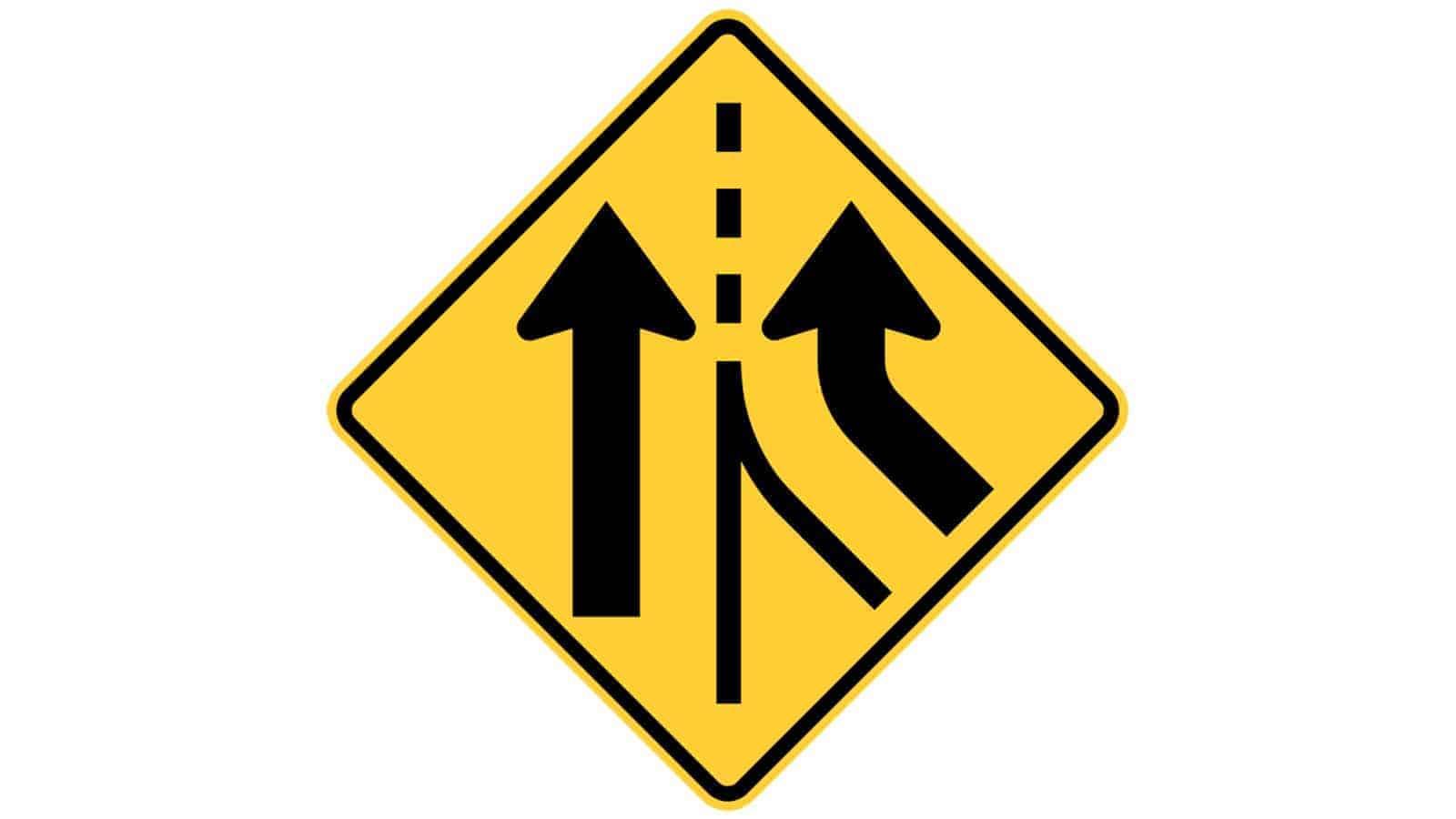 Warning sign Added Lane (Via Merge)