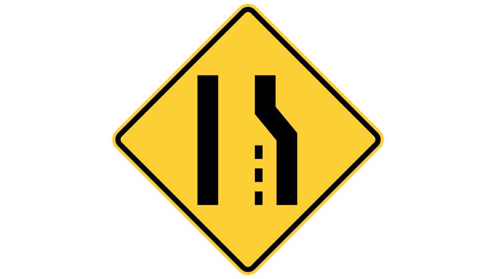 Warning sign right lane ends