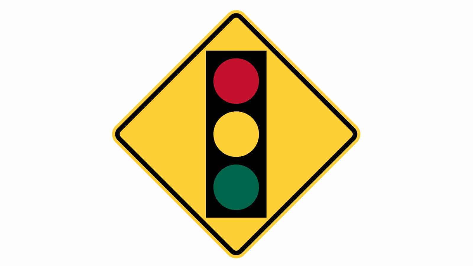 Warning sign traffic lights ahead