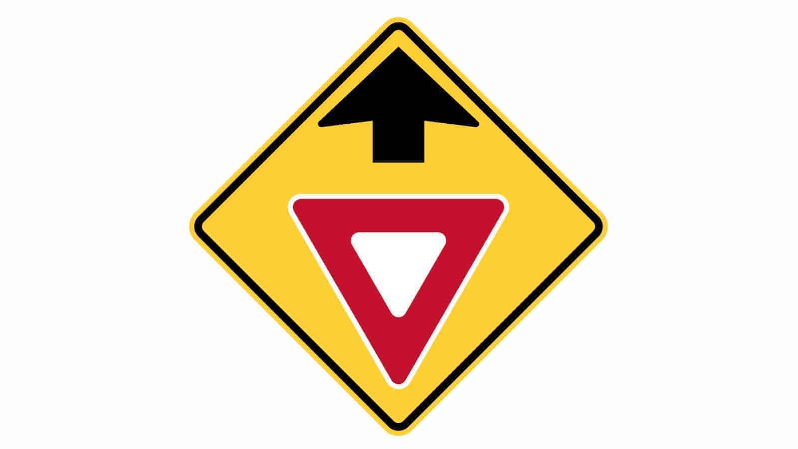 Warning sign yield sign ahead
