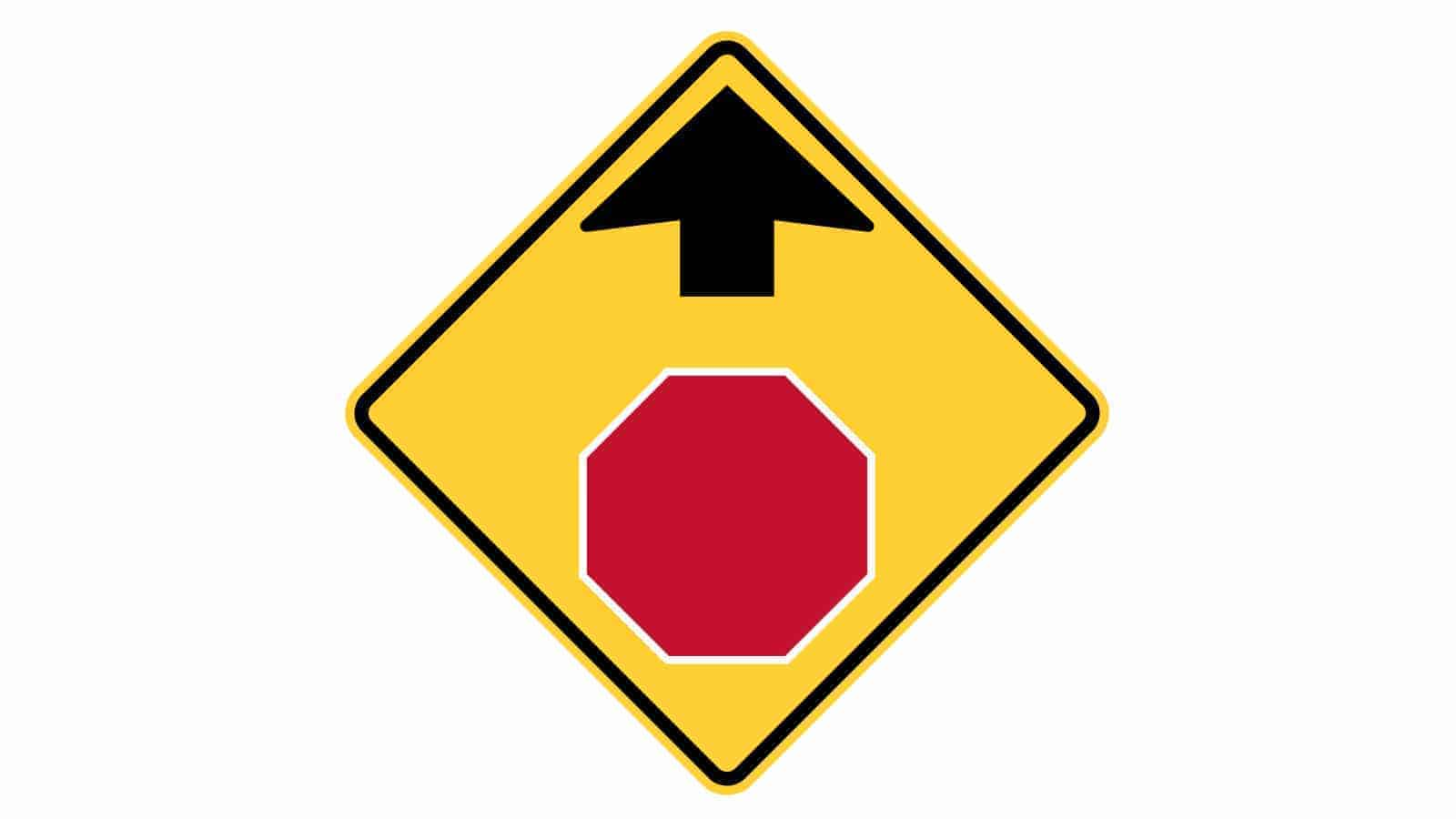 Warning sign STOP sign ahead