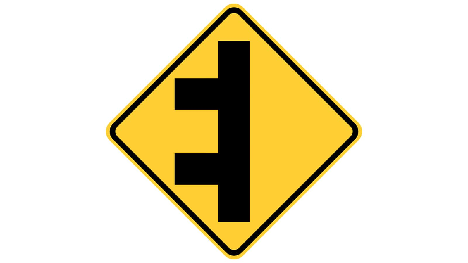 Warning sign Double-Side Roads
