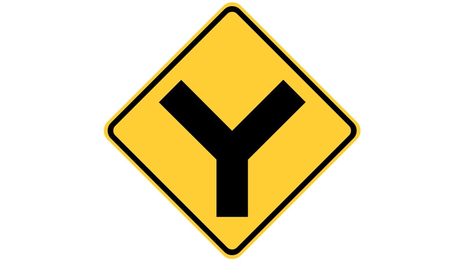 Warning sign Y-Roads