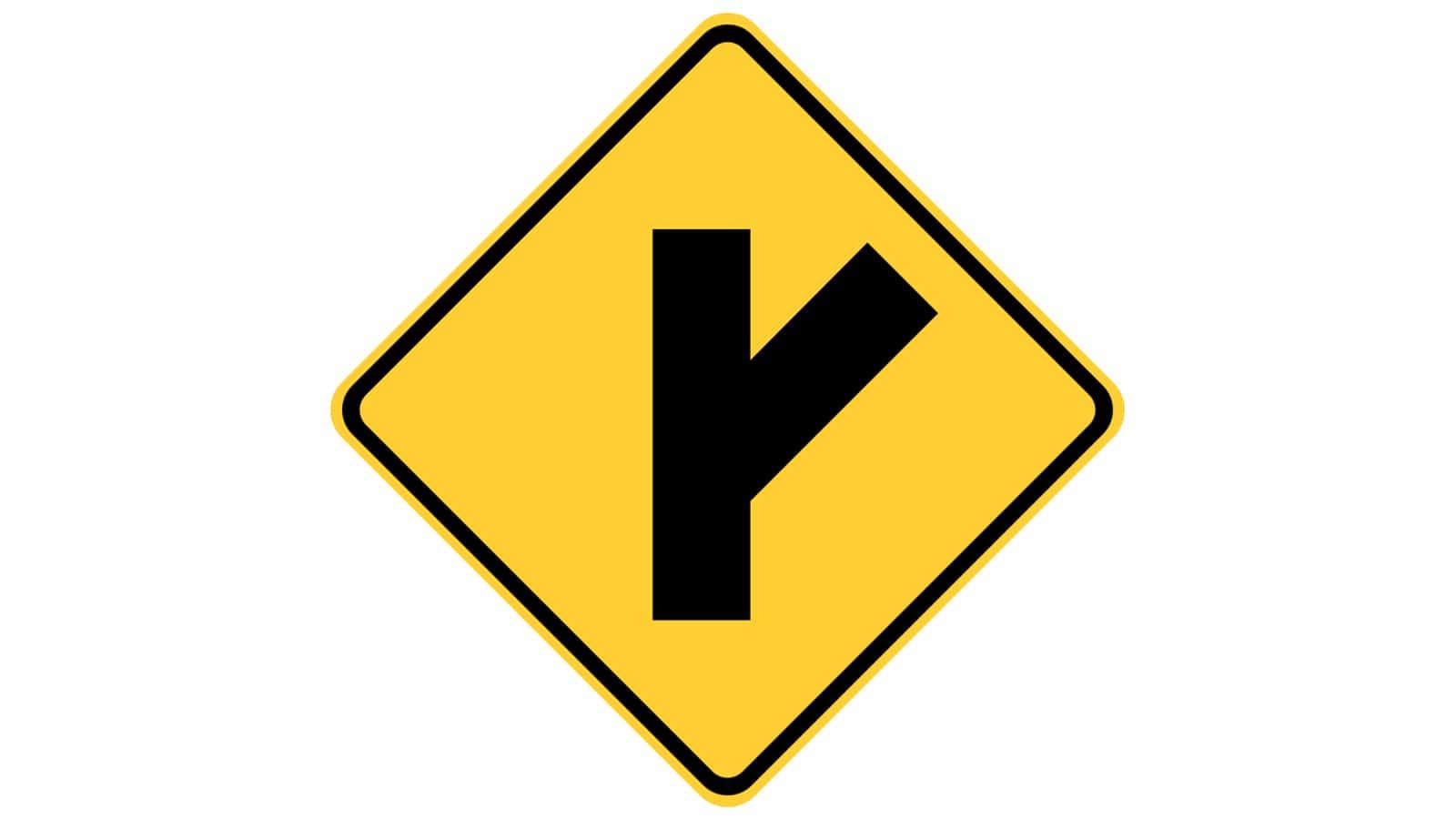 Warning sign Side Road at Acute Angle
