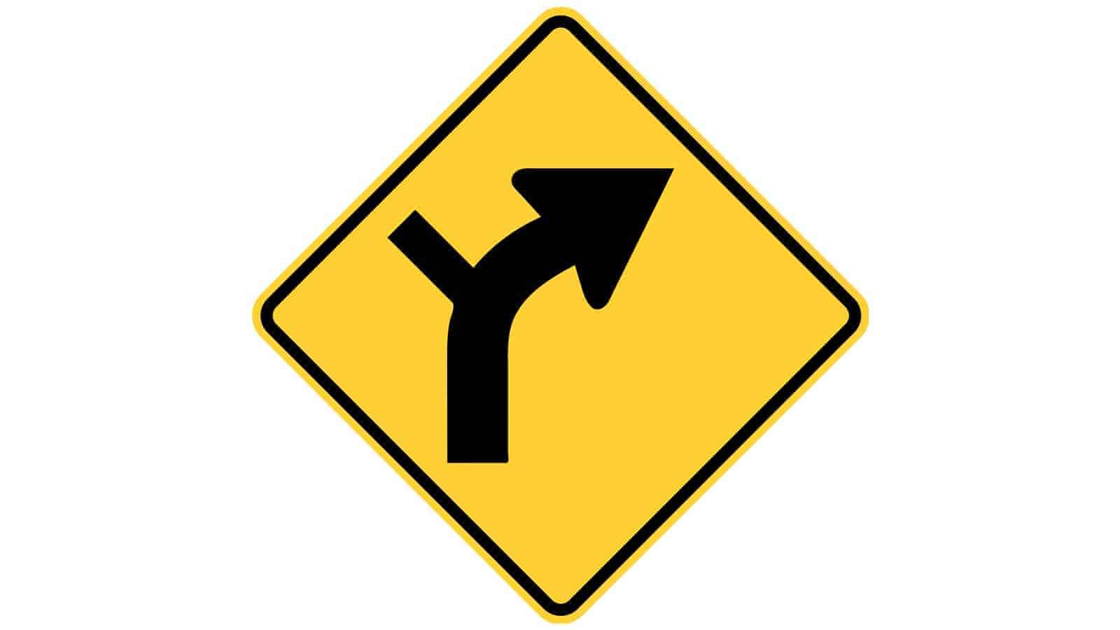 Warning sign Main Road Curves to the Right Ahead