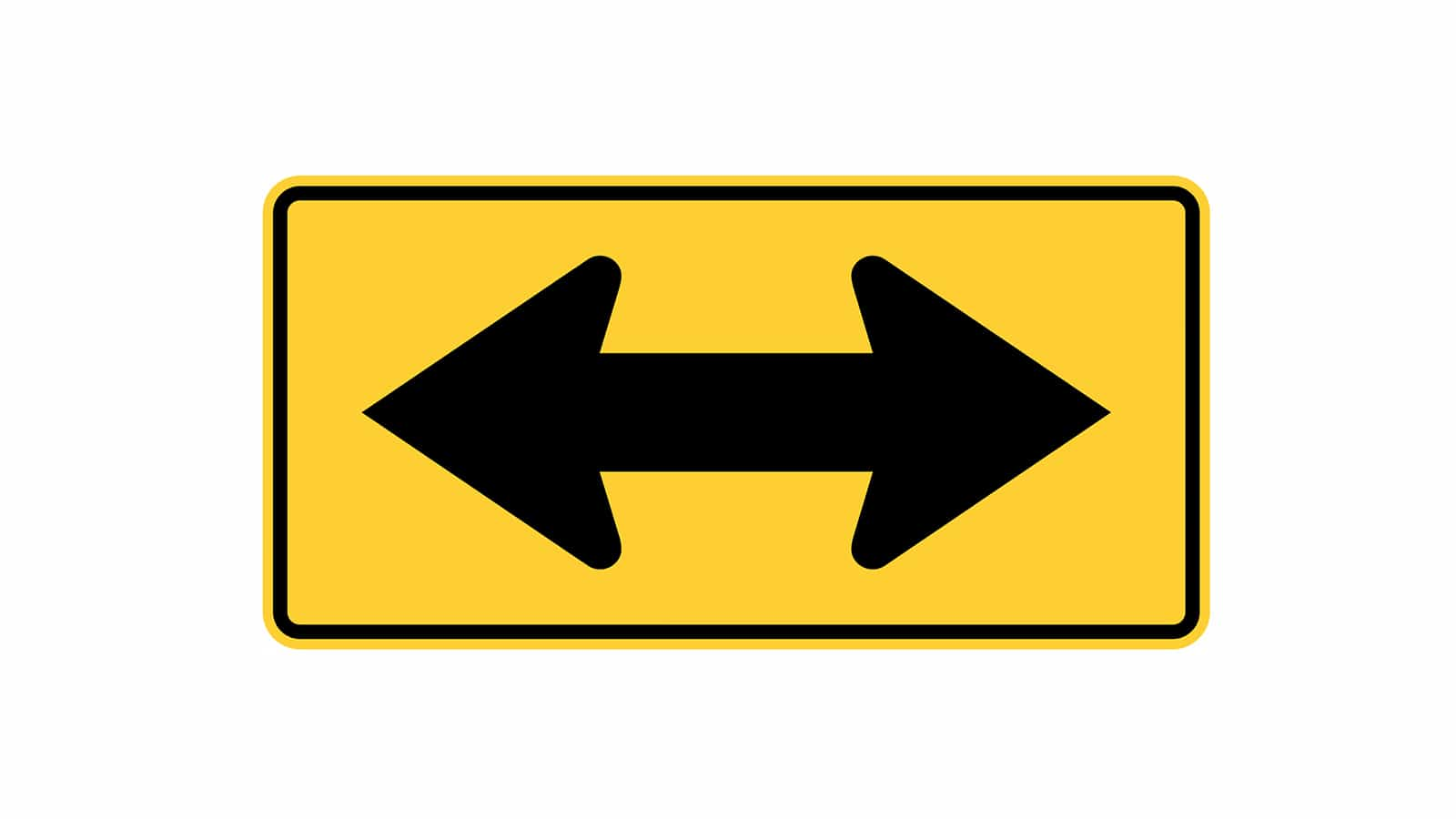 Warning sign Two Directional Arrow