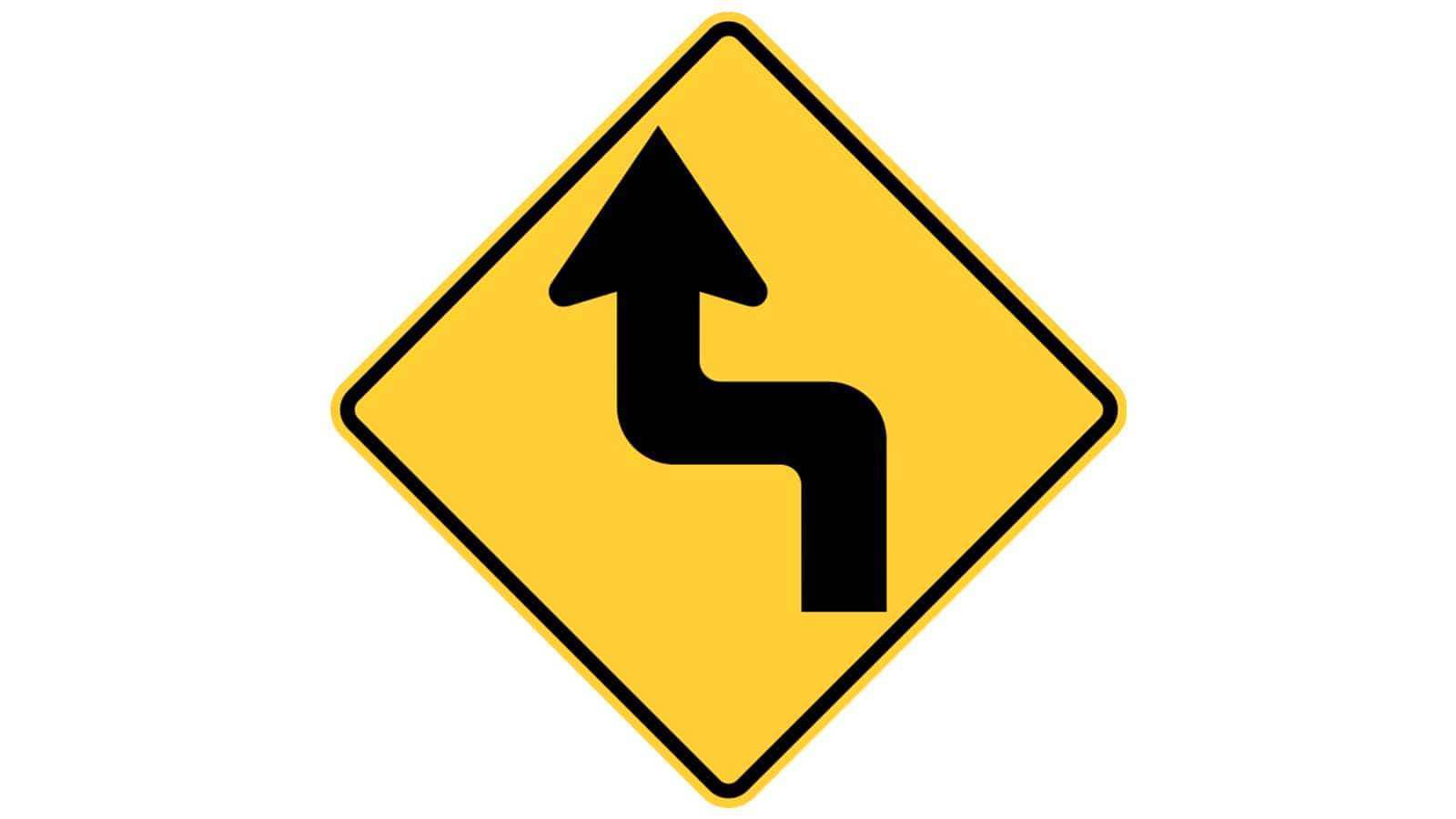 Warning sign reverse turn (first turn to the left)