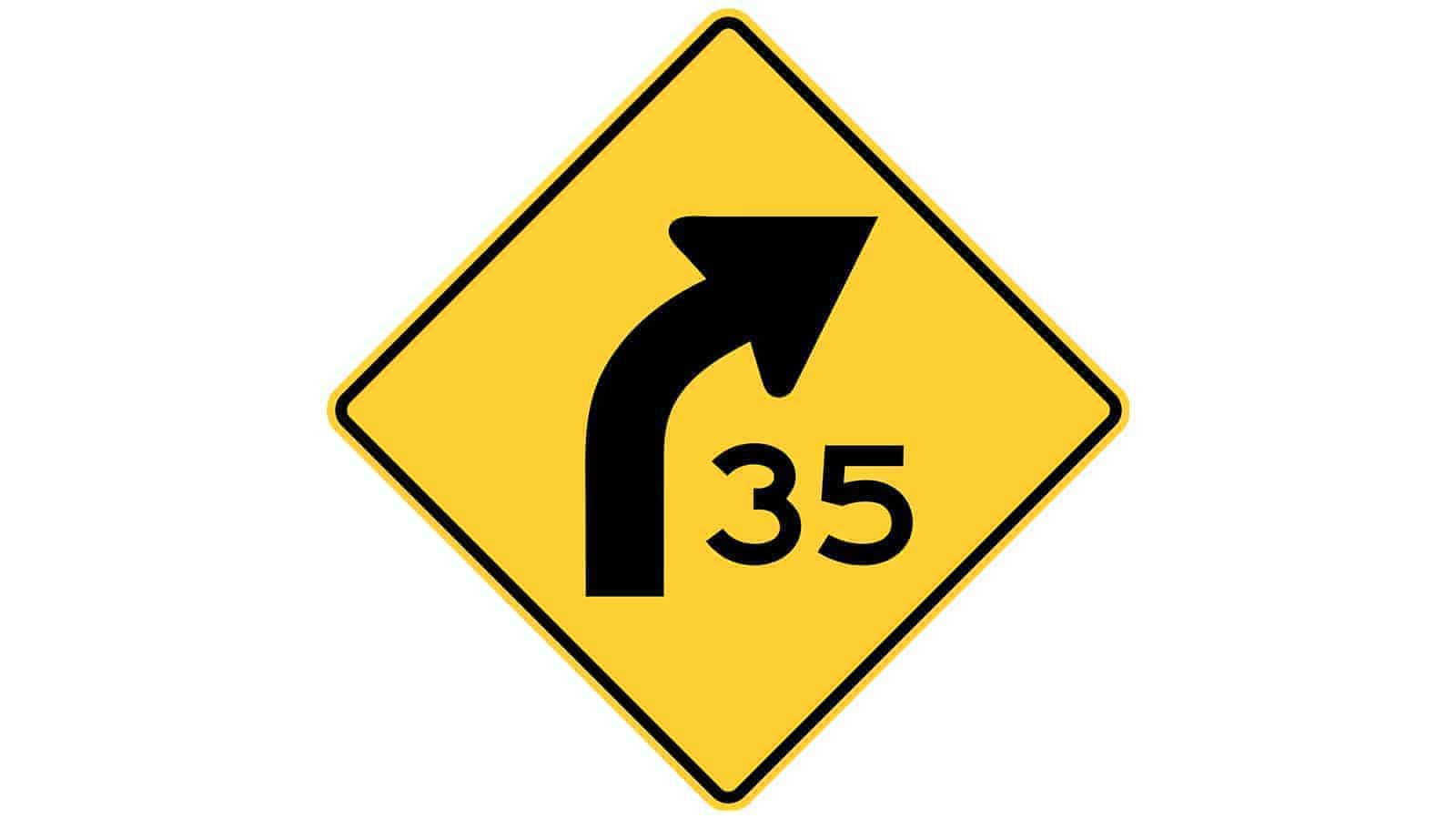 Warning sign curve to the right with advisory speed
