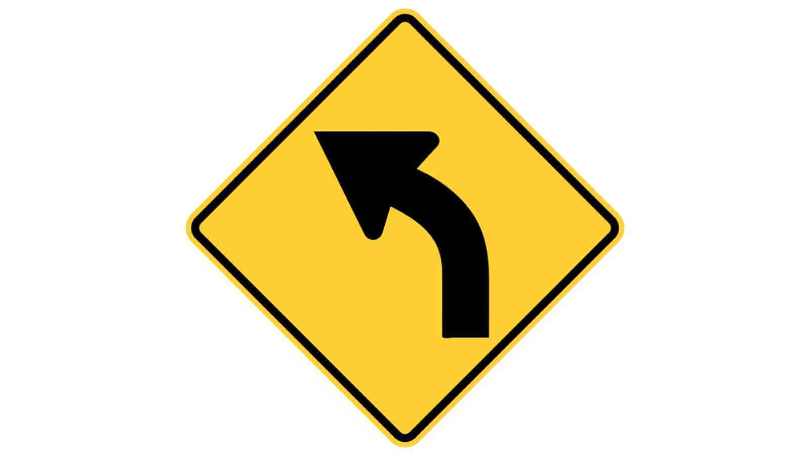 Warning sign curve to the left