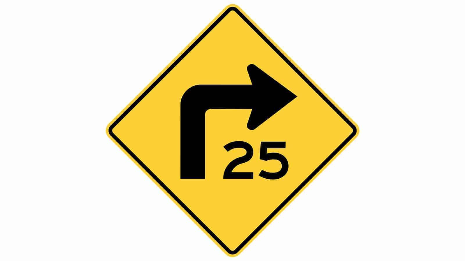 Warning sign turn left advisory speed
