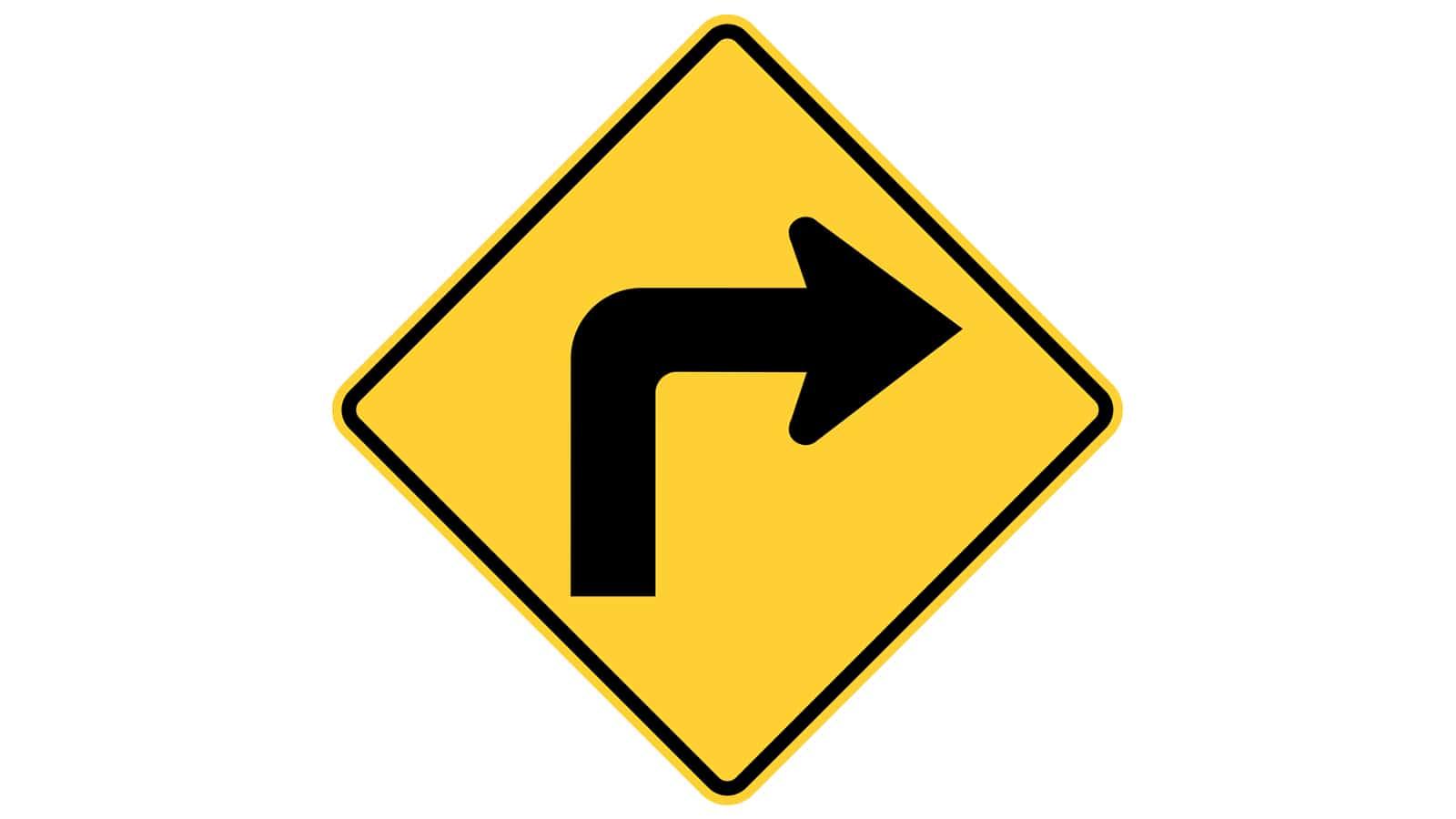 Warning sign turn right
