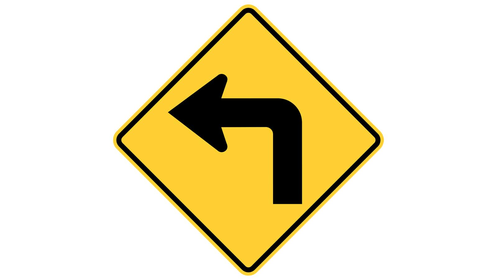 Warning sign left right