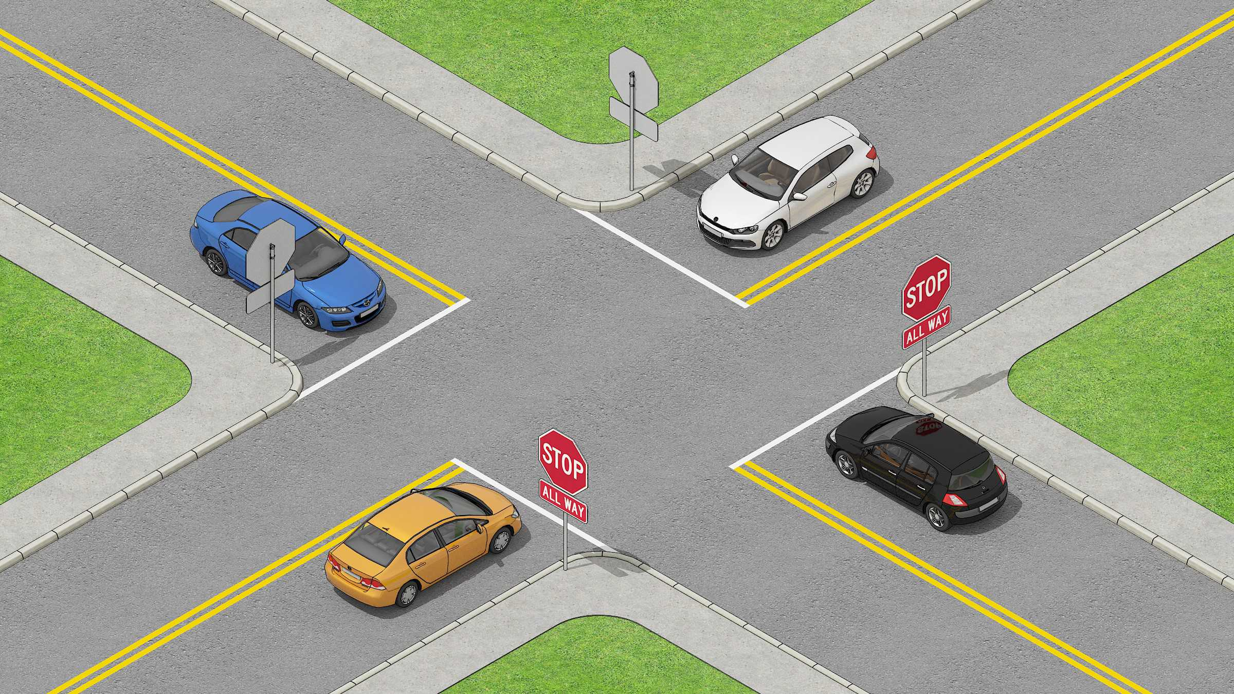 4 cars standing in a 4 way stop intersection