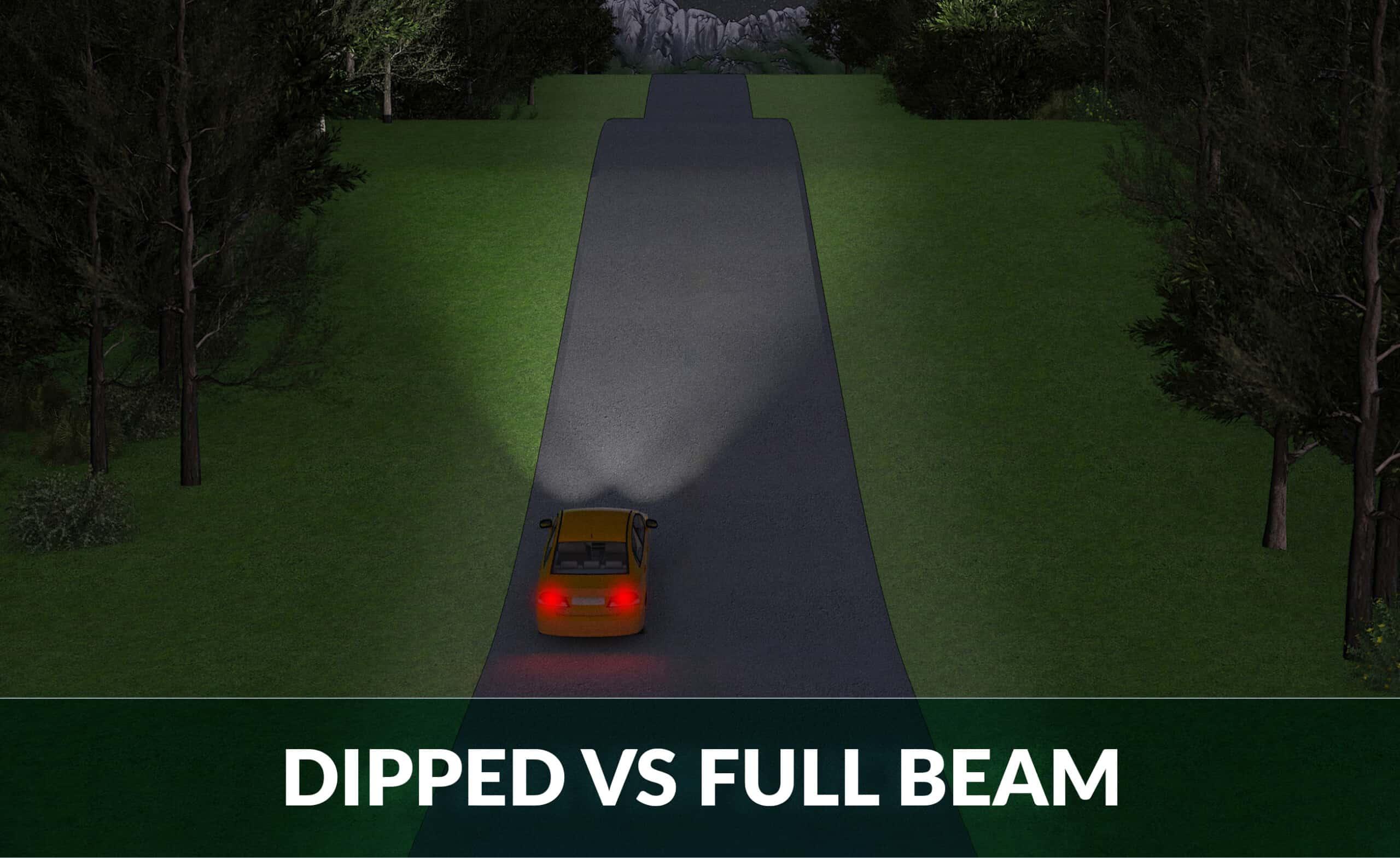 dipped vs full beam headlights